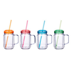 Plastic Drinking Jars 400ml Sold in Sets of four