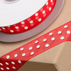 25 Metre - Ribbon in Red with White Spots