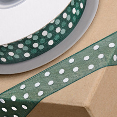 25 Metre - Ribbon in Green with White Spots