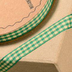 10 Metre - Ribbon in Green Gingham