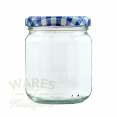 228ml(8oz) jam jars , half the size of a supermarket sized jam jar.  Supplied with a choice of heat sealable lids in 7 colours.
