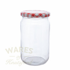 850ml clear glass jam jars with red gingham lids.