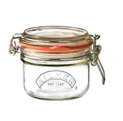 A 125ml Kilner Jar. This jar has a round clip top complete with an orange seal.