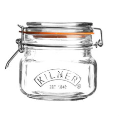 A  500ml / 0.5L  Square Kilner Jar.  This jar has a  clip top complete with an orange seal.