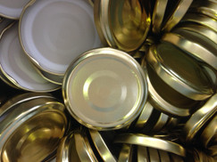 ** Pack of 100 x  Special offer 63mm Gold Lids with Button **