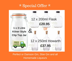 *SPECIAL OFFER* 3L clip top jar + 12 liqueur bottles *FREE SHIPPING*