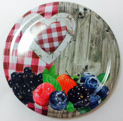 *SPECIAL OFFER* 63mm lids - Gingham Heart Design