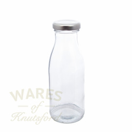 250ml glass milk bottle with a choice of 3 lid colours