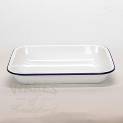 28cm White with Blue Rim Falcon Enamel Bake Pan
