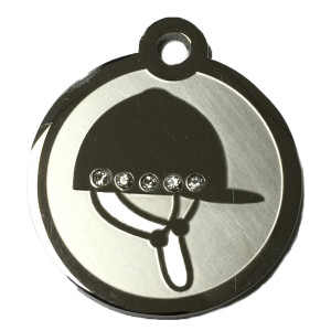 Englsh Riding Helmet Swarovski Crystal and Stainless Steel ID Tag
