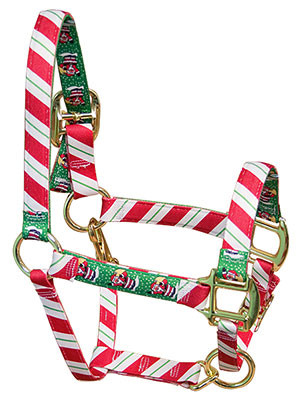 Christmas Horse Tack.Peppermint Stick High Fashion Horse Halter