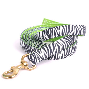 Black Zebra on Green Polka High Fashion Horse Lead