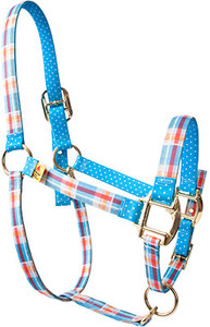 Madras Blue High Fashion Halter For Miniature Horse