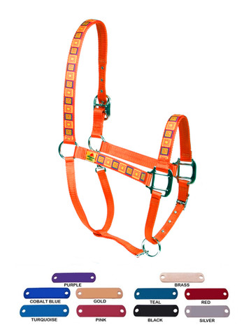 Personalized Name Plate Orange Blocks Equine Elite Halter