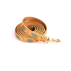 Leather Rose Teal High Fashion Horse Lead
