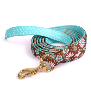 Pink and Teal Flowers on Teal Polka High Fashion Horse Lead
