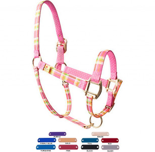 Personalized Name Plate Madras Pink High Fashion Horse Halter
