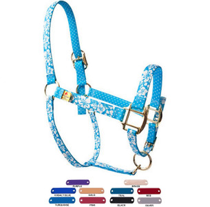 Personalized Name Plate Island Floral Blue High Fashion Horse Halter