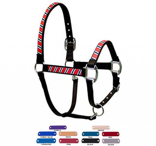 Personalized Name Plate Red, White and Black Equine Elite Halter