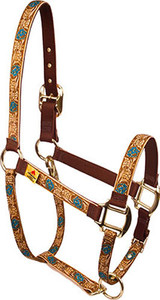 Leather Rose Teal High Fashion Horse Halter