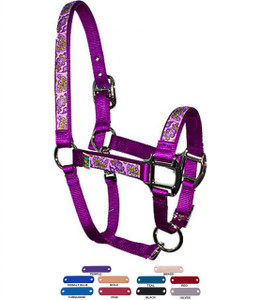 Personalized Name Plate Purple Paisley Equine Elite Halter