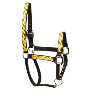 Moustaches on Yellow Equine Elite Horse Halter