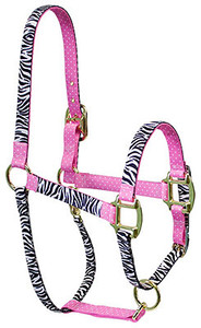 Black Zebra with Pink Polka Accent High Fashion Horse Halter