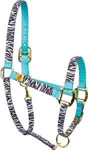 Black Zebra with Teal Polka Accent High Fashion Horse Halter