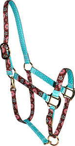 Pink and Teal Flowers High Fashion Horse Halter