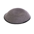 Gray with Black Trim DMC Knitted Kippah