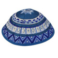Blue Embroidered Kippah