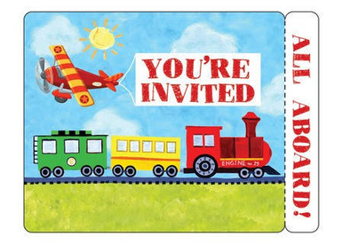 On the Go Transportation Party Invitations