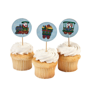 Holiday Train Cupcake Picks