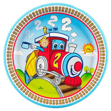 Two Train 2nd Birthday Dinner Plates 8 Ct