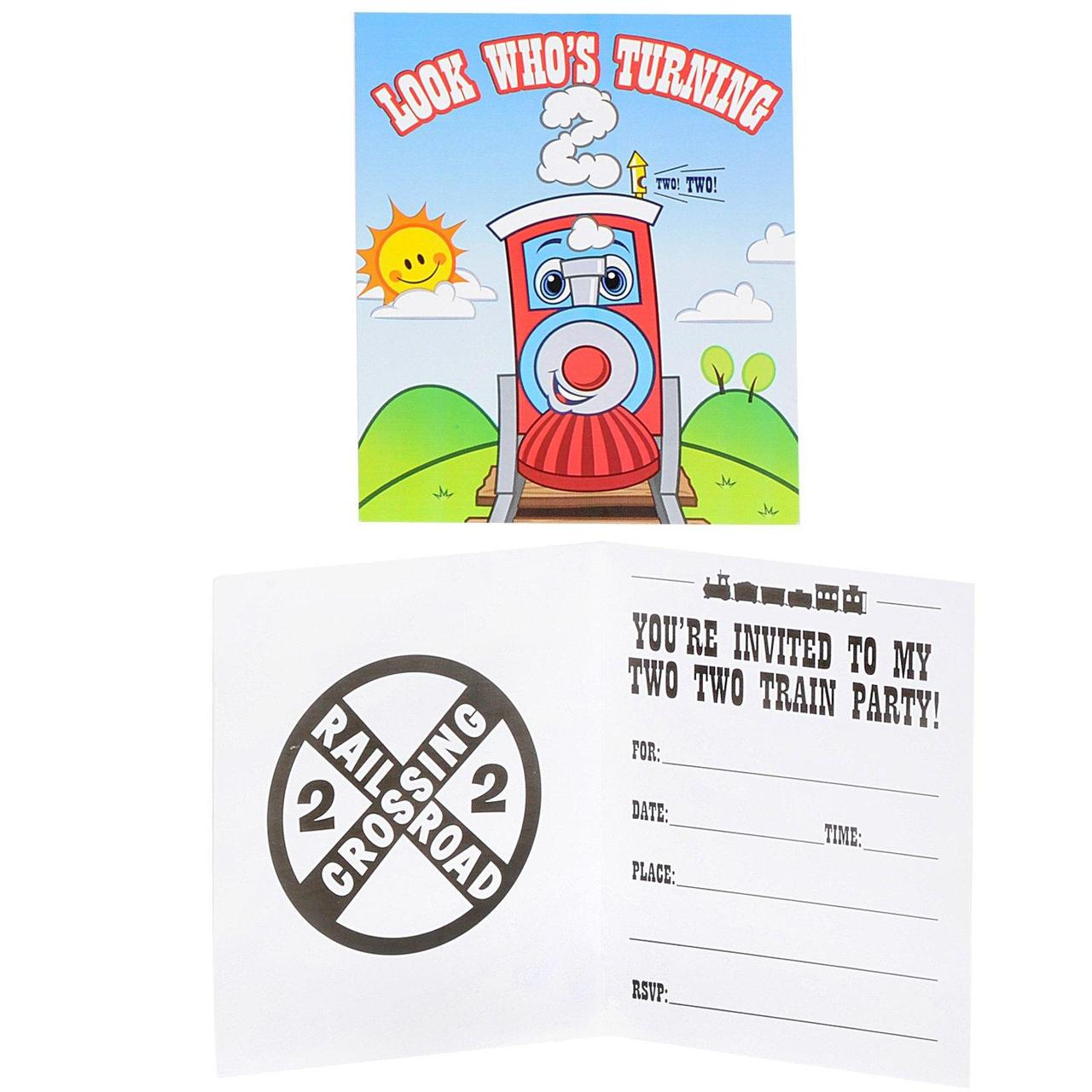 Two Train 2nd Birthday Invitations