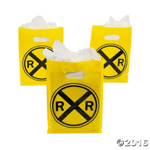 Yellow Railroad Crossing Sign Favor Bags (12 ct)