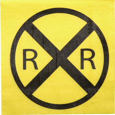 Railroad Crossing Train Party Beverage Napkins (Folded)