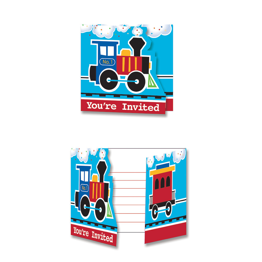 all aboard train party invitation cards 8 ct