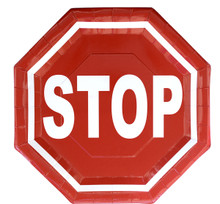 Stop Sign Octagon Shaped Dinner Plates (8 ct)