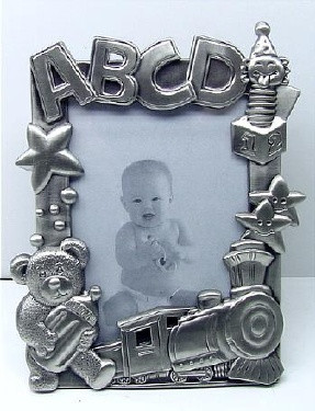 Pewter ABCD Train Picture Frame
