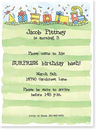 Birthday Express Train Invitation Cards