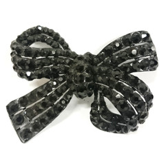 Profile Black diamontie bow brooch