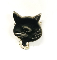 Black cat face brooch