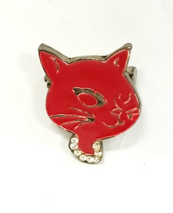 Red cat face brooch
