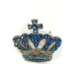 Blue diamontie crown brooch