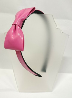 pink patent bow head band