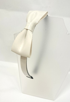 White patent bow head band