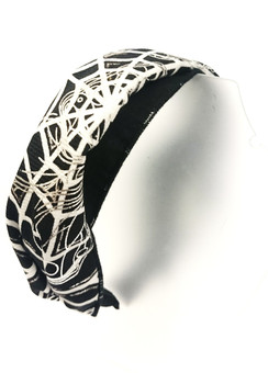 Black spider web fabric head band