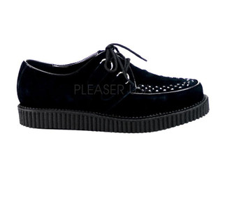"Creeper-602S - black suede leather with 1"" platform"