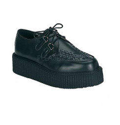 "Creeper - 402 Black leather with 2"" platform"